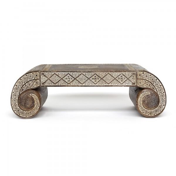 Tisch 'Timor', braun, weiß gekälkt, T 60 cm, B 180 cm, H 40 cm