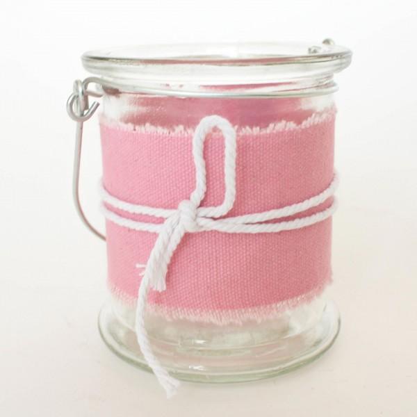 Windlicht, klar/pink, H 10 cm, Ø 8,5 cm