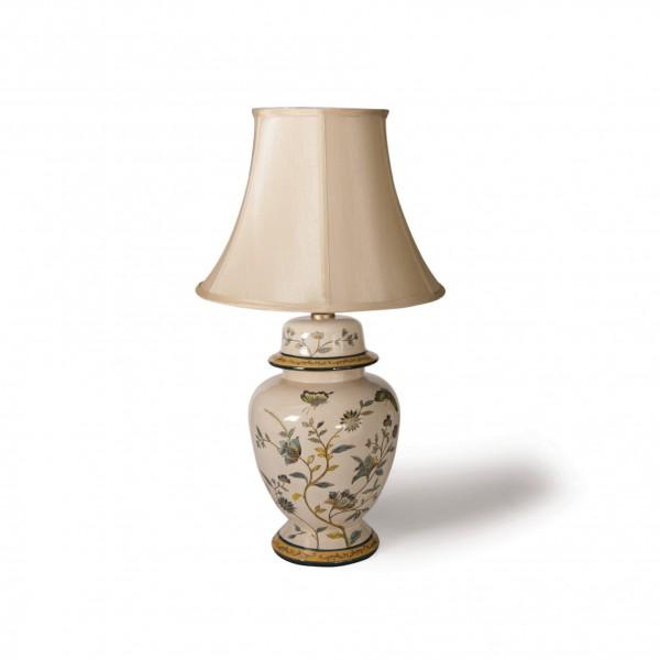 Keramikleuchte 'Enshi', multicolor, Schirm weiß, H 71 cm