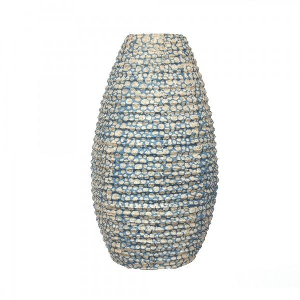 Papierlampe 'Wassermosaik', blau, creme, T 11 cm, B 17 cm, H 55 cm