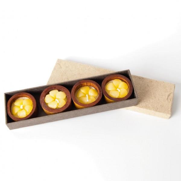 Vier Schwimmkerzen, gelb/weiß, Ø 5 cm