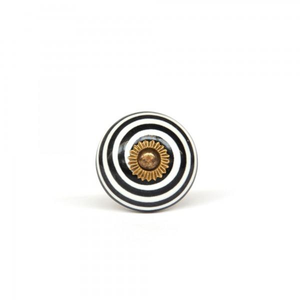 Knauf rund, schwarz, weiß, Ø 3,5 cm, H 2,5 cm