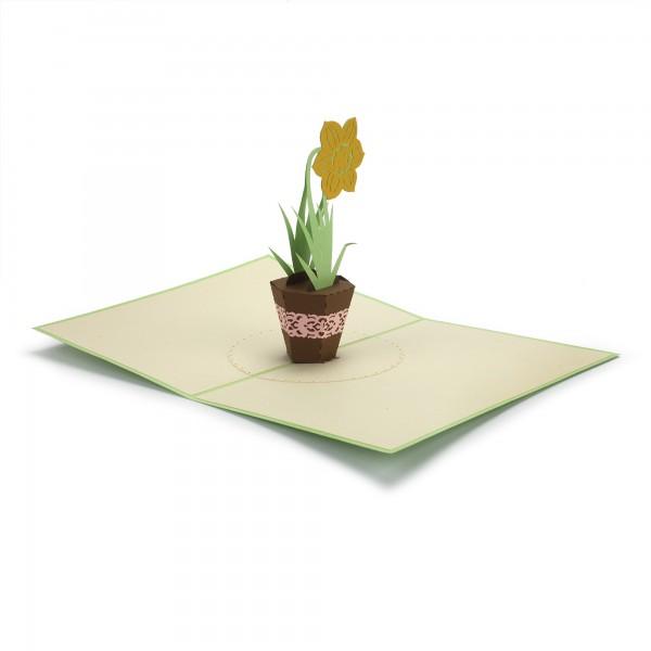 Pop Up Karte 'Topfblume', gelb, T 18 cm, B 13 cm