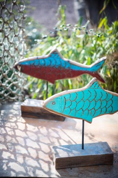 Fisch aus Bootsholz, blau, weiß, T 3 cm, B 20 cm, H 50 cm