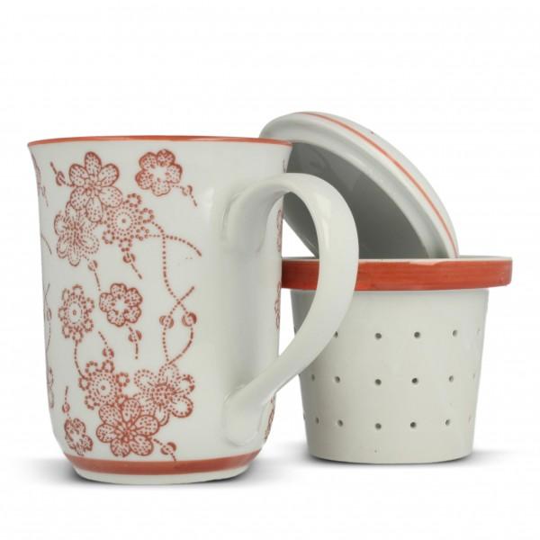 "Tee Tasse ""Blossom"" mit Teesieb, weiß/rot, H 13,5 cm, Ø 8,5 cm"
