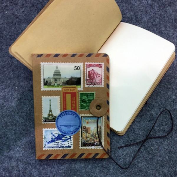 """Notizbuch """"World Stamps"""", 64 Seiten, B 10 cm, H 14 cm"""