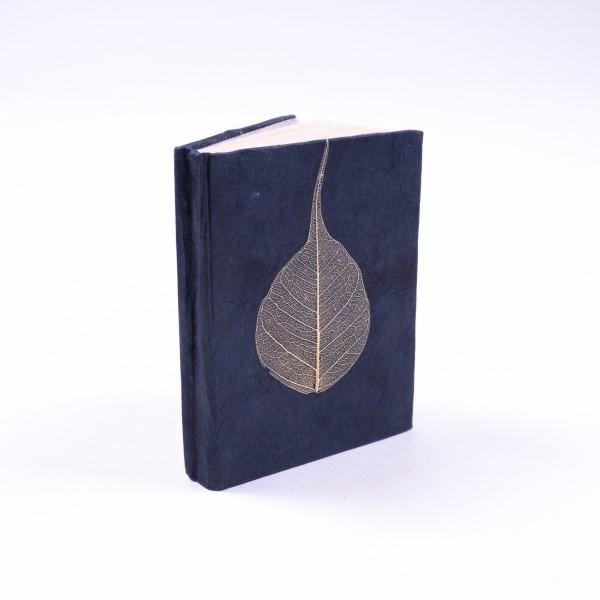 "Notizbuch ""Blatt"" aus handgeschöpftem Papier, blau, B 5,5 cm, H 7,5 cm"