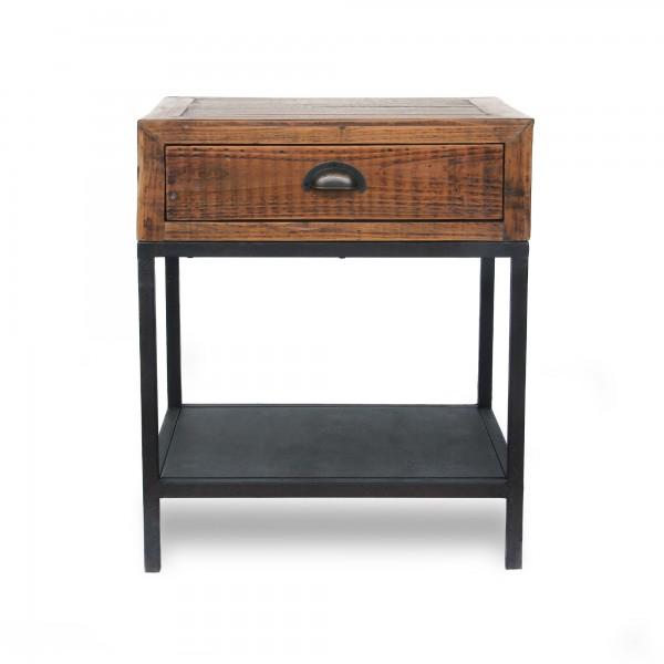 Beistelltisch 'Peckson', 1 Schublade, braun, schwarz, T 40 cm, B 50 cm, H 60 cm
