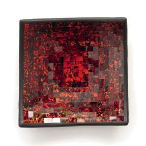 Mosaikteller rechteckig, rot, L 25 cm, B 25 cm, H 7 cm