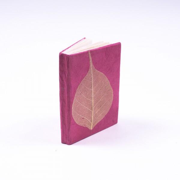 """Notizbuch """"Blatt"""" aus handgeschöpftem Papier, pink, B 5,5 cm, H 7,5 cm"""