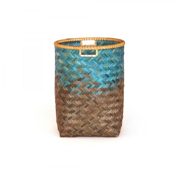 Bambuskorb S, türkis/braun, Ø 38 cm, H 49 cm