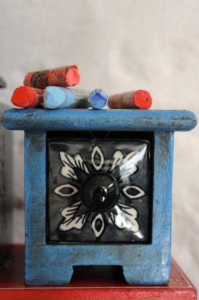 Schubladentruhe mit 1 Schublade, blau/schwarz, L 10 cm, B 10 cm, H 9 cm