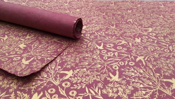 Geschenkpapier 'Vogelwald', braun, gold, T 76 cm, B 51 cm