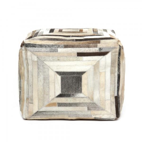 Sitzpouf 'Painal', schwarz, braun, weiß, T 55cm, B 55cm, H 45cm