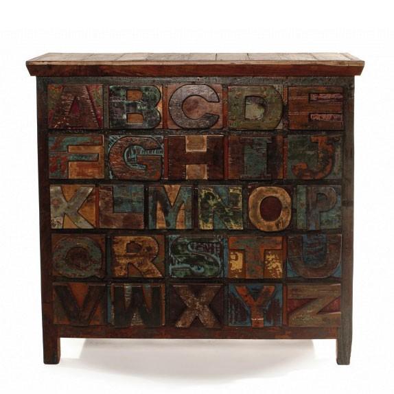 "Schubladenkommode ""A bis Z"" aus recyceltem Holz, L 40 cm, B 112 cm, H 106 cm"