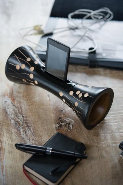 Smartphone-Verstärker, schwarz, T 10 cm, B 25 cm, H 10 cm