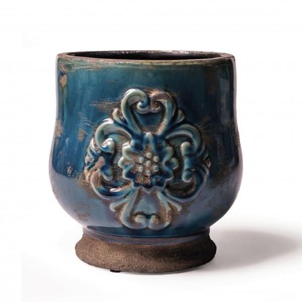 """Pflanztopf """"Macon"""", blau, Ø 15,5 cm, H 16,5 cm"""