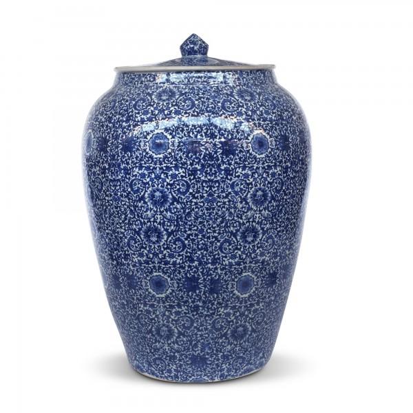 Deckeldose 'Shìlù', weiß, blau, Ø 32 cm, H 52 cm