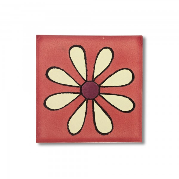 Kachel 'Margerita', rosa, T 10 cm, B 10 cm, H 0,5 cm