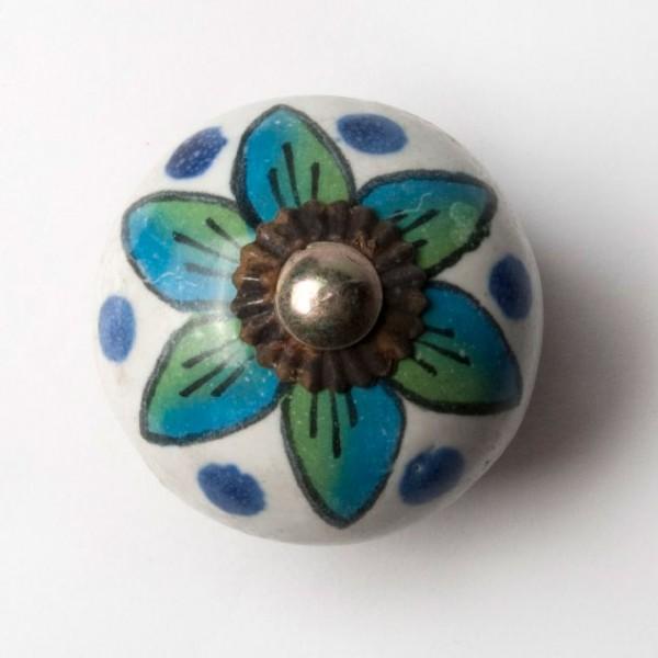 Türknauf rund, blau/grün, Ø 4 cm