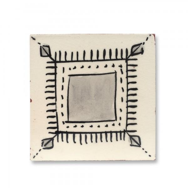 Kachel Craquelé, weiß, schwarz, T 10 cm, B 10 cm, H 1 cm