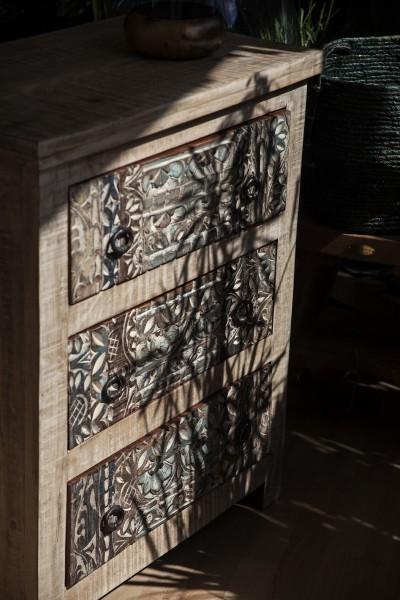 Schubladenkommode 'Sharina', aus Mangoholz, braun, T 40 cm, B 70 cm, H 85 cm