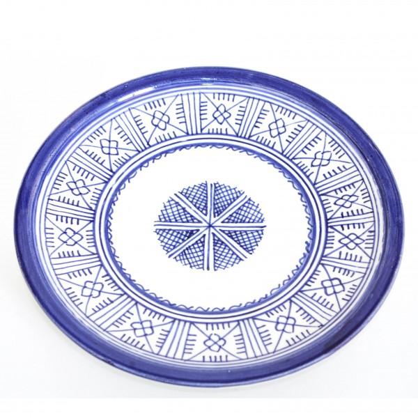 Deko-Teller mit traditioneller Fes Bemalung, blau/weiß, H 2,5 cm, Ø 20,5 cm