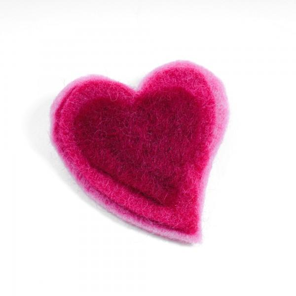 "Brosche ""Drei Herzen"", aus Filz, rosa"