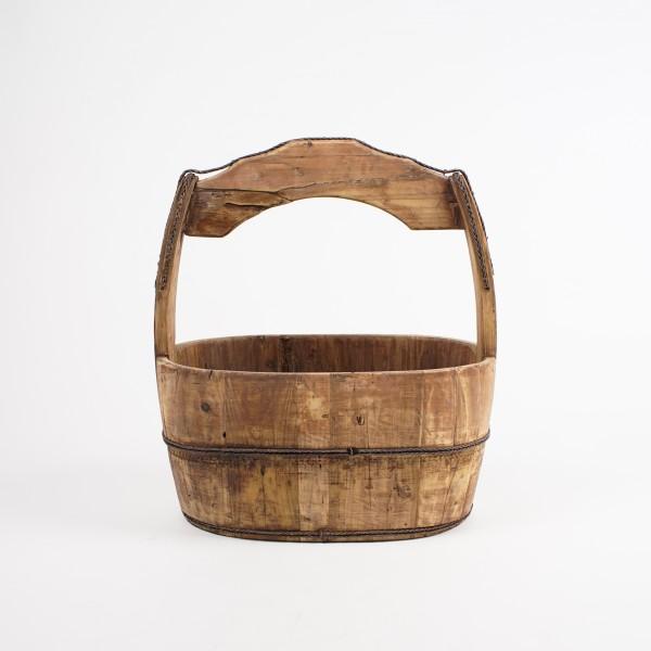 alte ovale Lasteneimer aus Holz, natur, L 40 cm, B 24 cm, H 43 cm