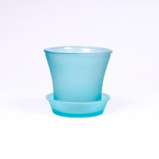 Glasblumentopf, Farbe: türkis