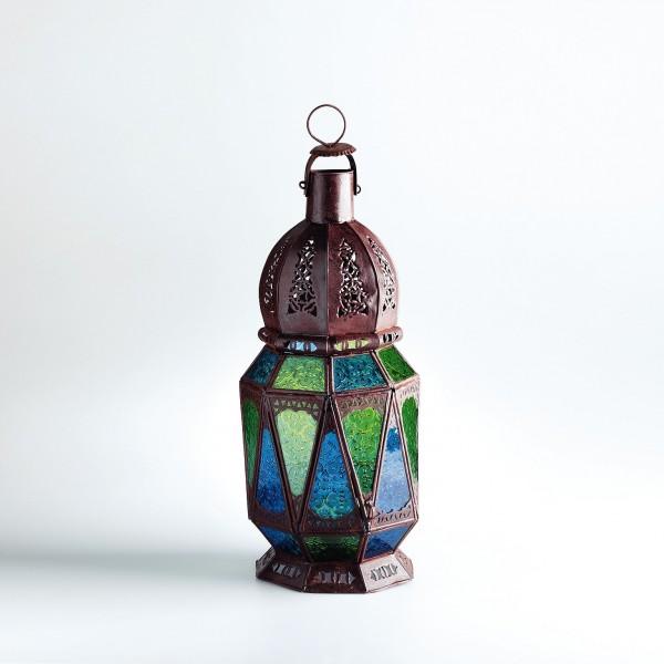 """Marokkanische Laterne """"Mtemen Mtellet"""", aus Metall, blau/gün, H 59 cm"""