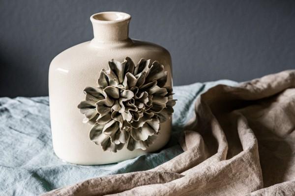 Vase 'Dianthus Quadra', grau, T 18,5, B 14,5 cm, H 20 cm