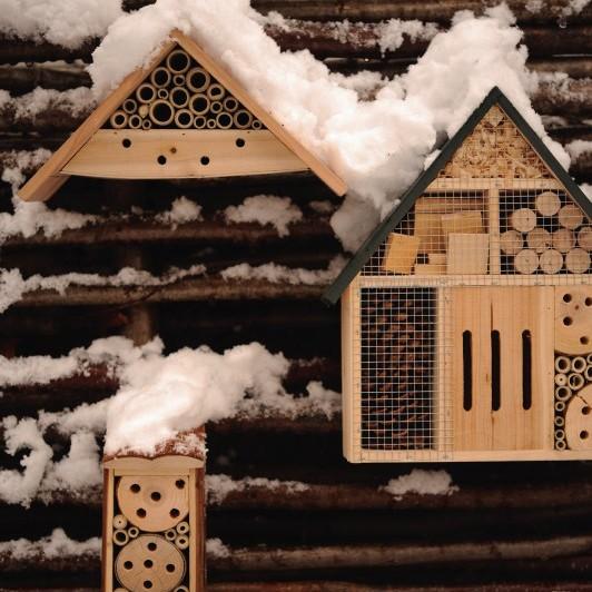 Insekten-Penthouse aus Fichtenholz und Bambus, B 28 cm, H 14 cm