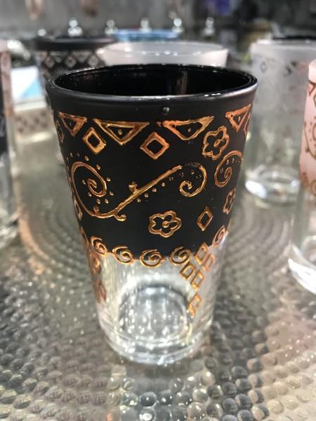 Teeglas, gold, schwarz, Ø 5 cm, H 9 cm