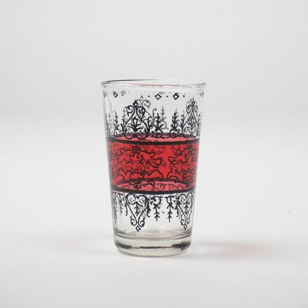 "Teeglas ""Mehndi"", rot/klar, H 8,5 cm, Ø 5 cm"