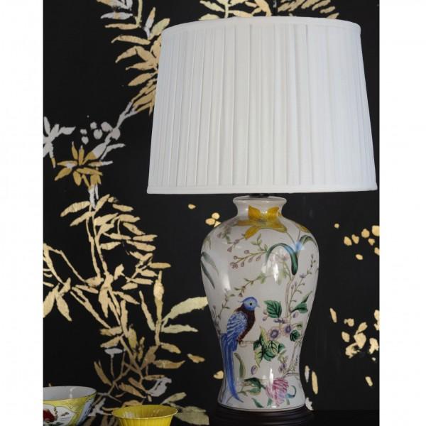 """Keramikleuchte """"Zunyi"""", weiß/multicolor, Schirm weiß, H 61 cm"""