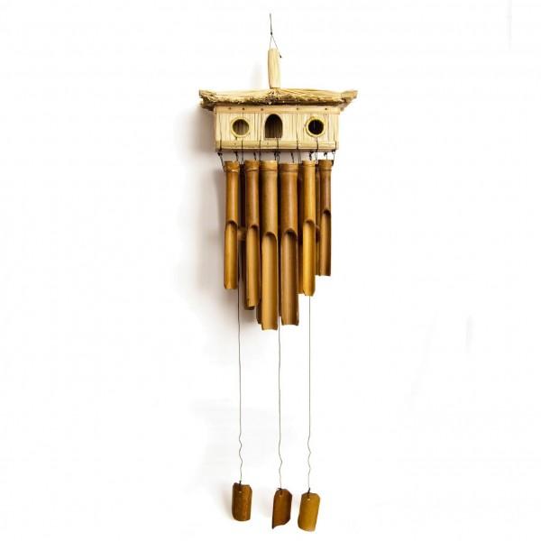 Windspiel aus Bambus mit Vogelhaus, natur, L 15 cm, B 30 cm H 55 cm