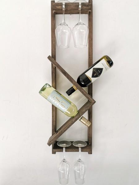 Weinregal mit Glashalter, natur, L 12 cm, B 25 cm, H 88 cm