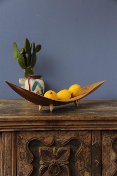 Schiffchenschale mit Füßen, natur, L 50 - 70 cm
