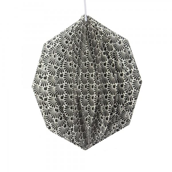 Papierlampe, schwarz, weiß, Ø 32 cm, H 39 cm