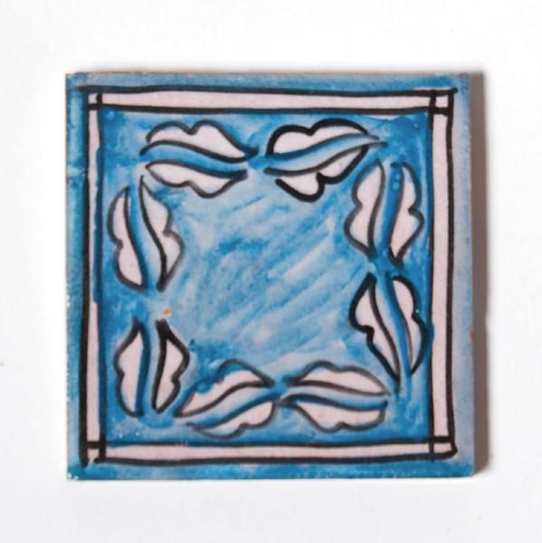 """Fliese """"laurier bleue"""", blau/weiß, L 10 cm, B 10 cm, H 1cm"""