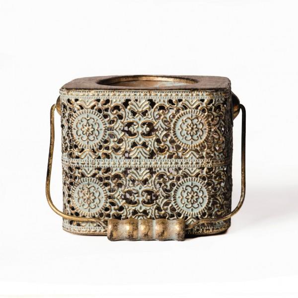 "Laterne ""Hobard"", antik-gold, L 11 cm, B 11 cm, H 10 cm"