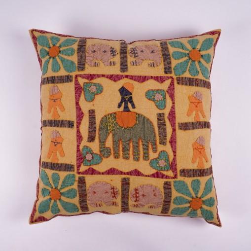 """Handbestickte Kissenhülle """"Elefant Farsha"""", multicolor, L 60 cm, B 60 cm"""