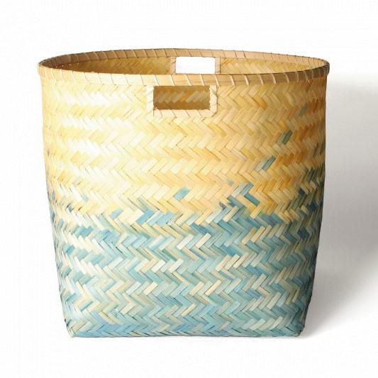 Wäschekorb aus Bambus XL, natur/türkis, Ø 49 cm, H 42 cm