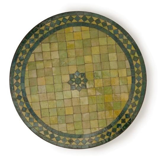 Marokkanischer Mosaiktisch rund, grün, Ø 60 cm, H 72 cm