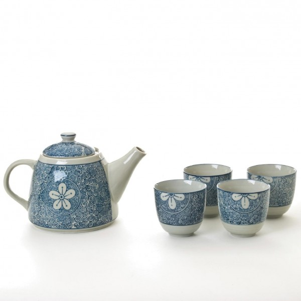 """Teeservice """"Flora"""" - Teekanne mit 4 Tassen, grau/blau"""