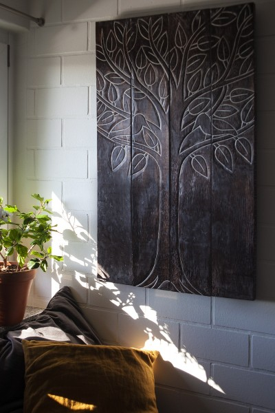 Panel 'Baum des Lebens', braun, T 3 cm, B 100 cm, H 60 cm