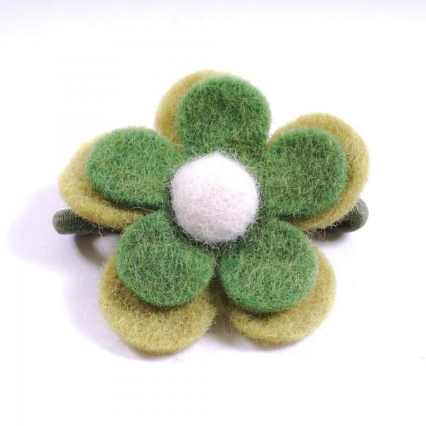 "Haarband ""Blütenblätter"", handgefilzt, grün"