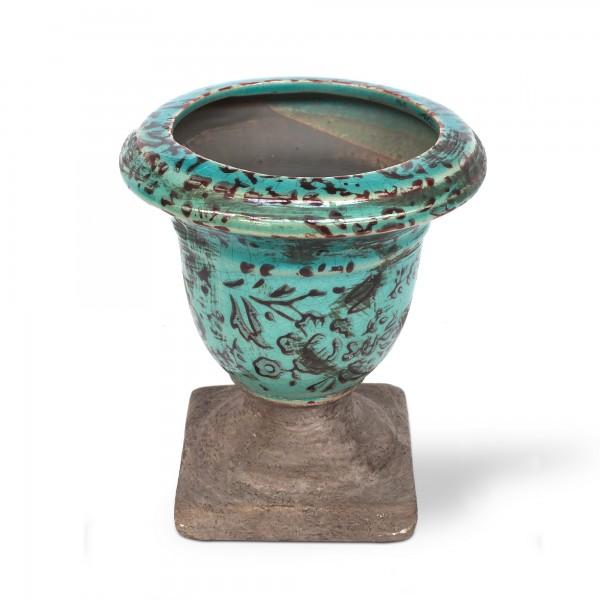 Keramikkelch, türkis, Ø 12 cm, H 12 cm