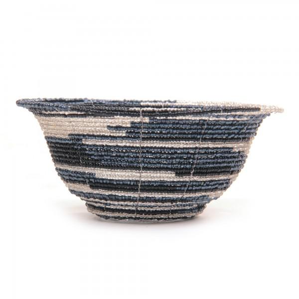 Glasperlenschale, schwarz, weiß, Ø 13 cm, H 6 cm
